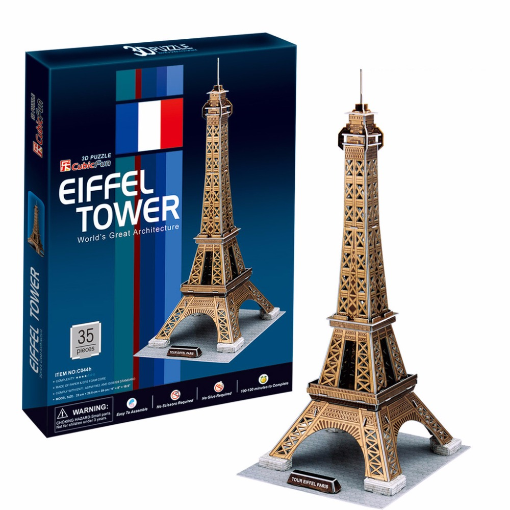Gratis frakt 3D Wood Puzzle DIY Modell Kids Toy, World Famous Towers - Puslespill - Bilde 6