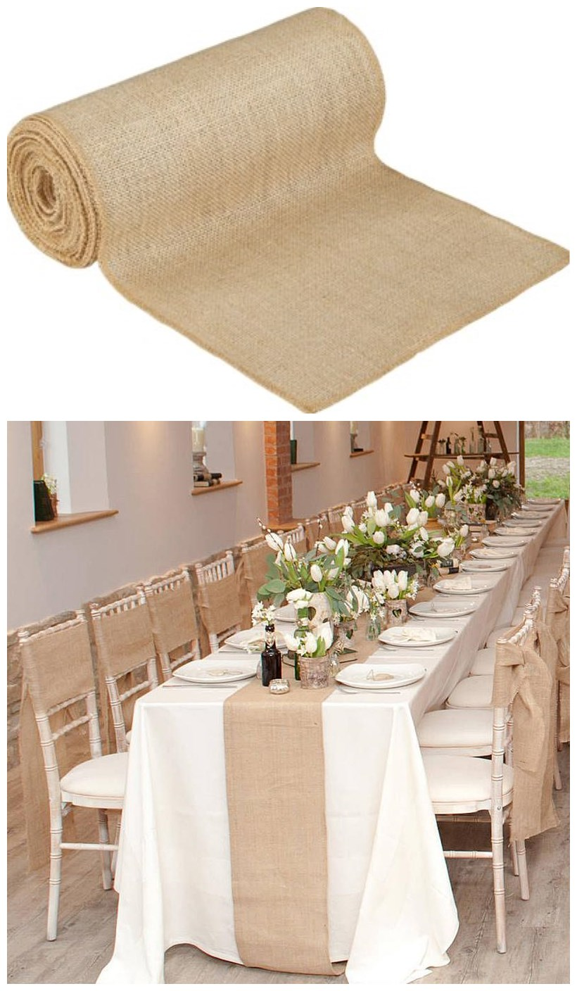 30cmX10Y Vintage Natural Burlap Jute Table Runner Lace Cloth For Dining Room Restaurant Table wedding decoration AA8219