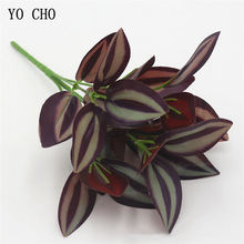 YO CHO Home Garden Decoration 5 Forks Leaf Artificial Plants Green Grass Tress Silk Fake Flowers Simulation Plants Wall Material