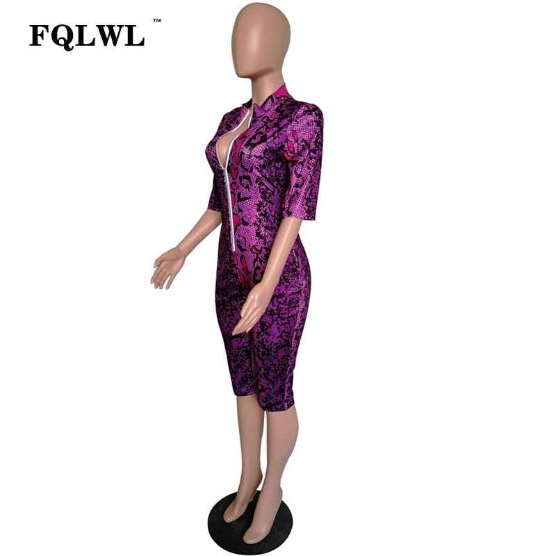 766dc1ecfc1f FQLWL Snake Print Zipper Bodycon Summer Sexy Jumpsuit Women Playsuit Long Sleeve  V Neck Ladies Rompers Womens Jumpsuit Short