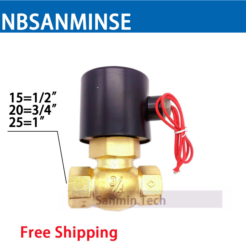 NBSANMINSE High Temperature Steam Valve US 15 20 25 1/2 3/4 1 Brass Solenoid Valve Air Valve for Water Oil Air Gas 2018 dn25 high temperature solenoid valve for steam