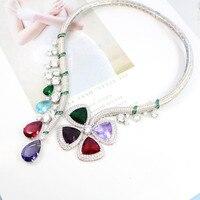 ZOZIRI модное ювелирное вечернее ожерелье для женщин, Мути из цветного камня падение водный цветок Форма Воротник известная марка ювелирных и