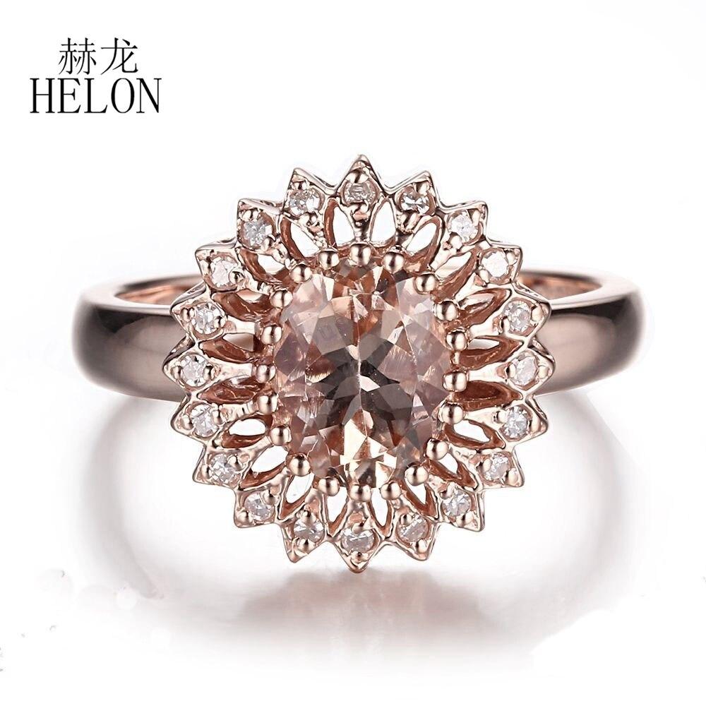 HÉLON Magnifique de Beaux Bijoux Anneau Solide 10 K Or Rose Naturel Diamants Anneau Rose Morganite Ovale Forme 9x7mm De Mariage Beaux Anneau