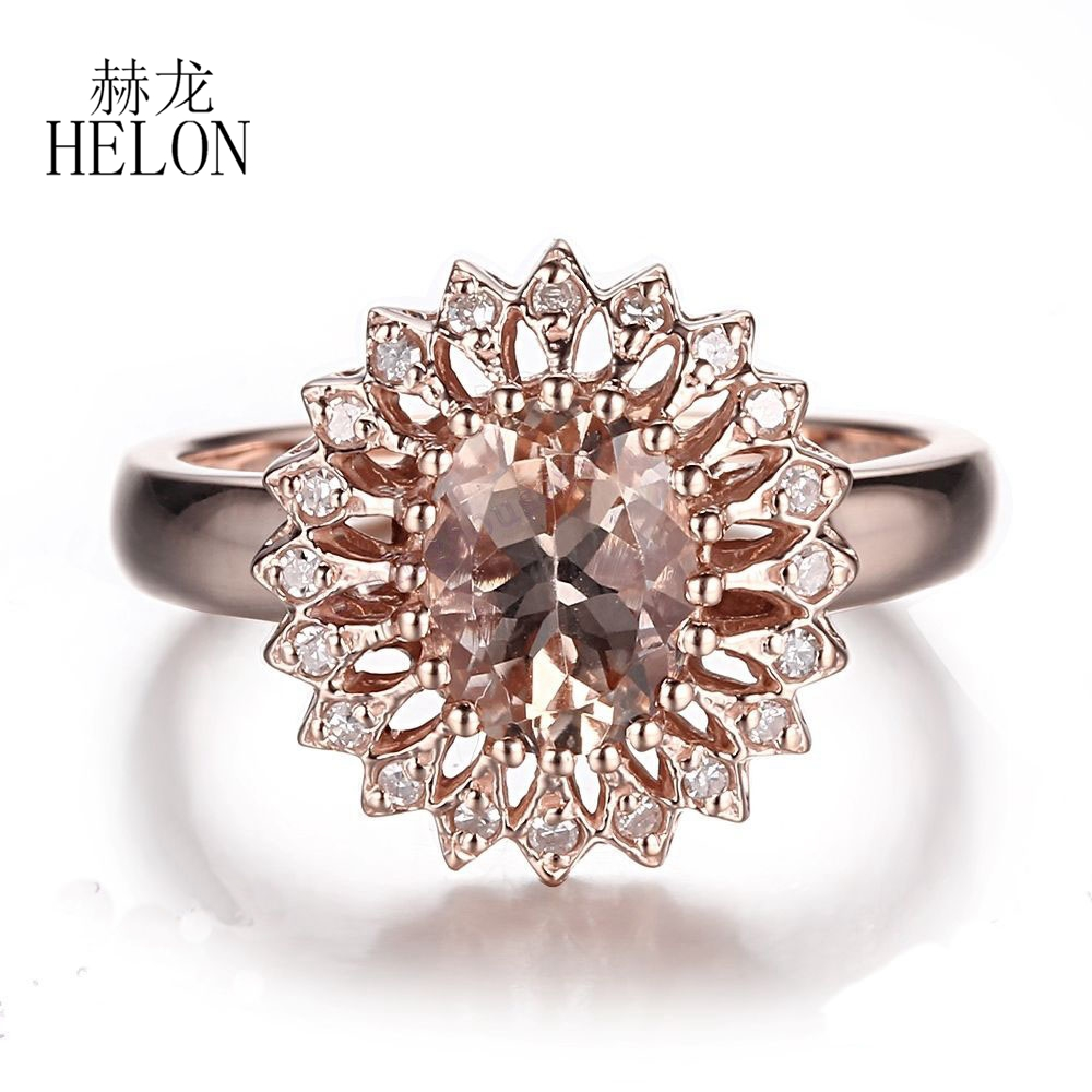 Helon splendida gioielleria raffinata anello solido 10 k rose gold diamanti naturali anello rosa morganite forma ovale 9x7mm wedding sottile anello