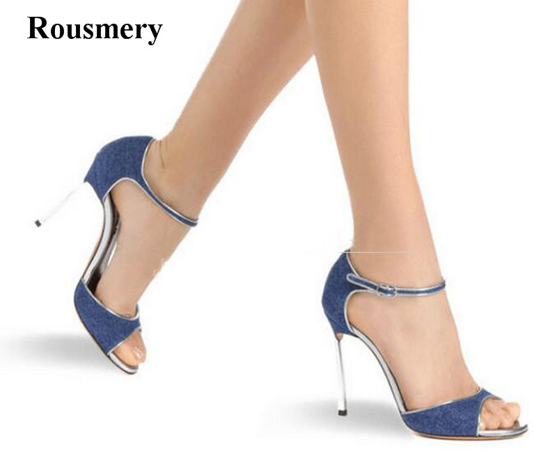New Fashion Women Ankle Strap Denim High Heel Sandals Cut-out Jean Strange Metal Heel Sandals Formal Dress Wedding Shoes цена
