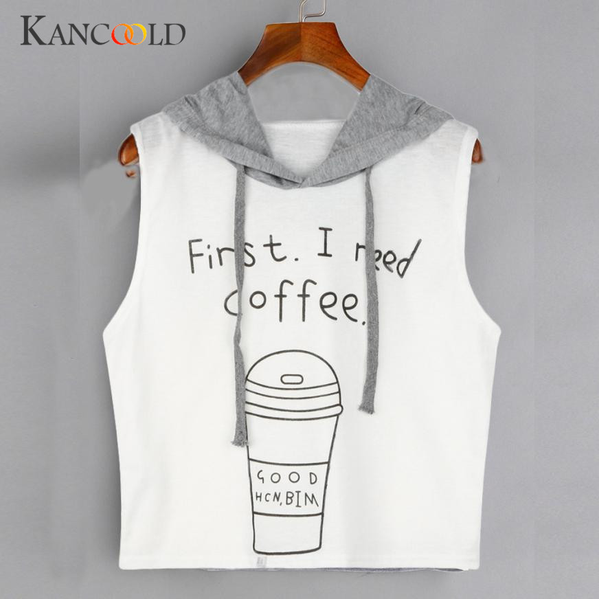 Women Fashion Sexy Sleeveless Coffee Print Hooded Crop Sleeveless T-Shirt Tops Mar 16
