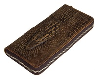 Nesitu Brown Color Vintage alligator Pattern Crazy Horse Leather Long Size Men Wallet Genuine Leather Clutches Purses #M8067