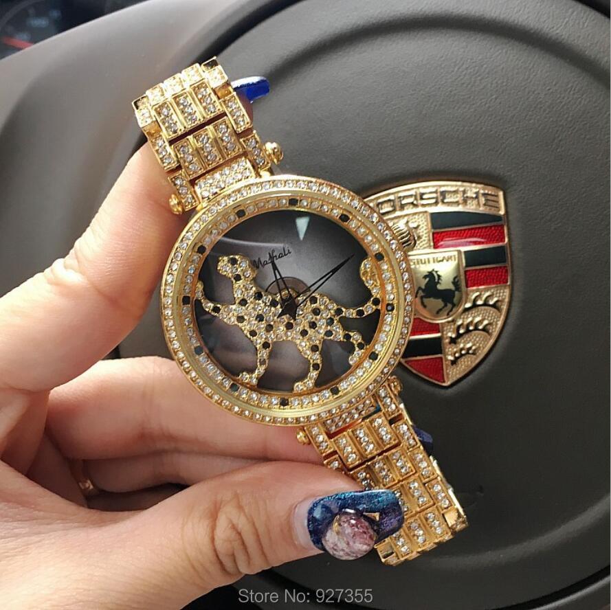 3 Colors Women Watch Stainless Steel Watches Lady leopard Rotation Dress Watch Big Diamond Stone Wristwatch