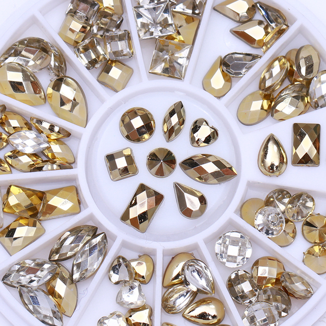 1 Box Gold Clear Nail Rhinestone Double-sided