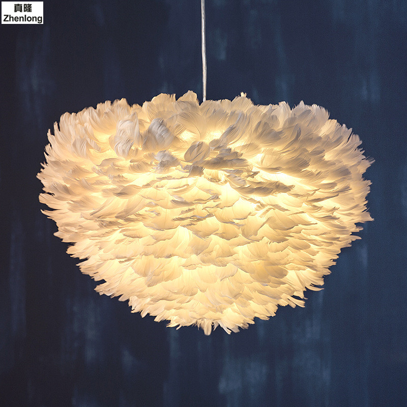 White Fashion Flower Modern Pendant Light Romantic Dreamlike Feather Droplight Bedroom Hanging Lamp Lamparas E27 110-240V Kids цена 2017