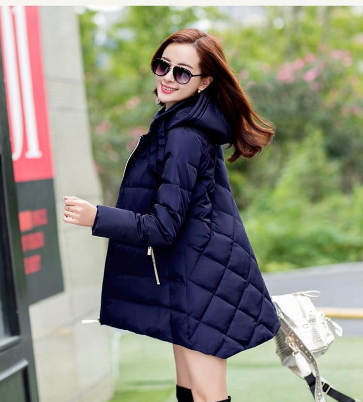 2018 nouvelle offre spéciale grande taille parkas avec chapeau noir bleu marine gris rouge manteaux vestes d'hiver pour les femmes - 1