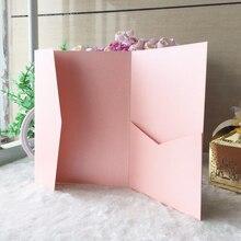50 pz/lotto di Carta Lucida Rosa Perla Viola Scuro Buste di Carta Da Sposa di Design Busta di Invito Busta di Carta di Tasca Invita