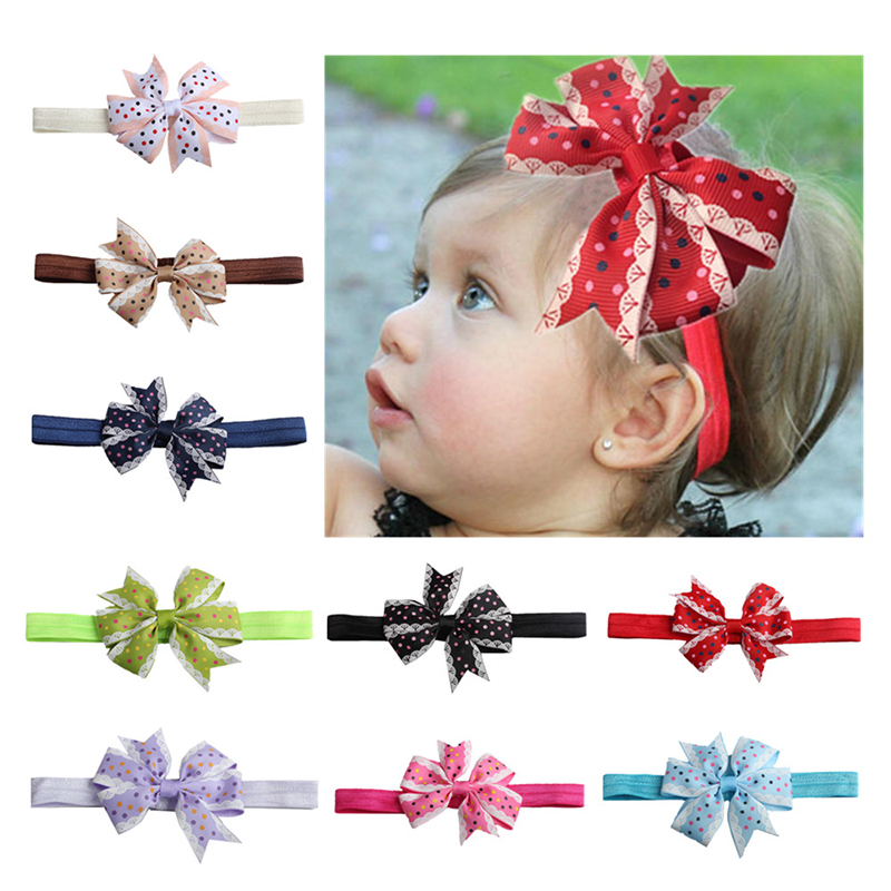 Baby Headband Children Girls Stylish Elastic Hair Accessories Dotted Bow Knot Hairband For Baby Cute Hairband