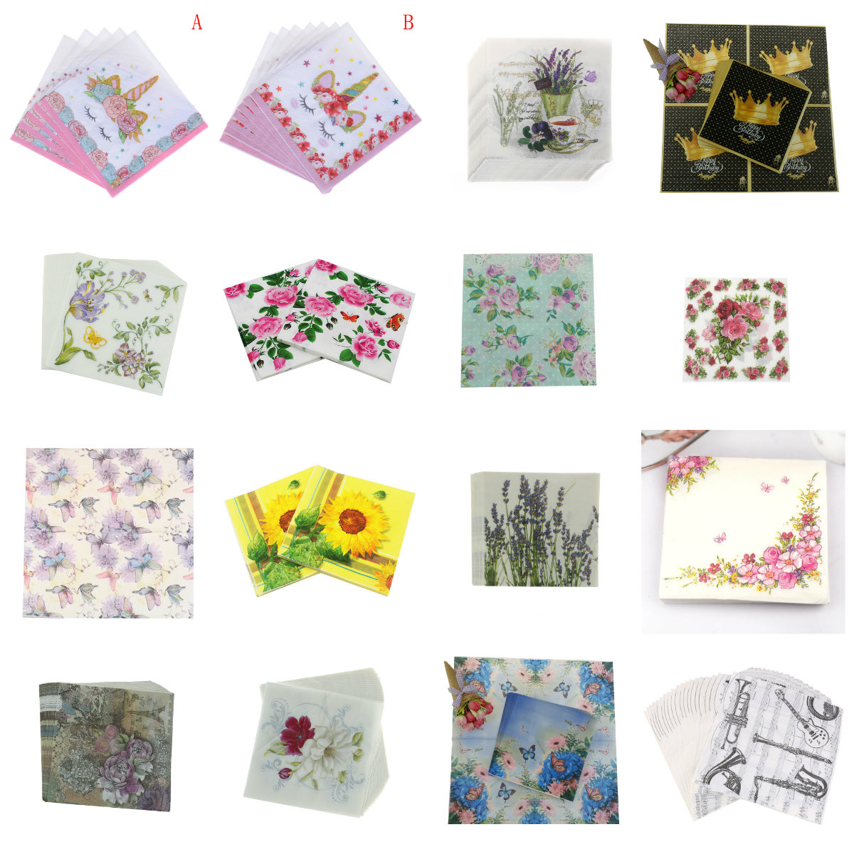 4 Single Lunch Paper Napkins for Decoupage Craft Napkin POLLY linen