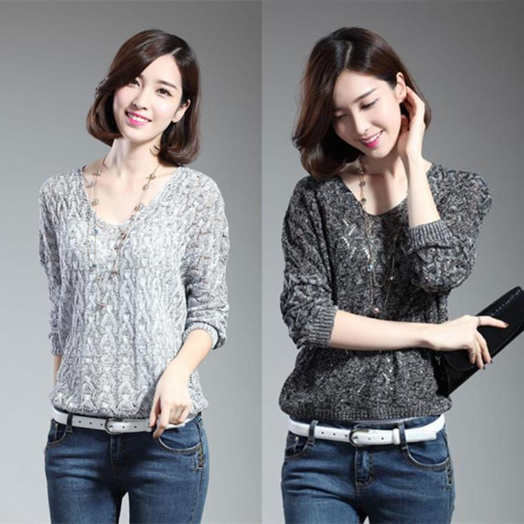 Hollow wool sweater coat sweater female loose women autumn thin section bottoming shirt Christmas sweaters, fashion sexy