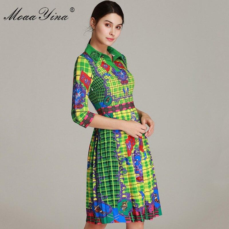MoaaYina Fashion Designer Runway Dress Spring Women s Dress Half sleeve Turn down Collar Beading Vintage