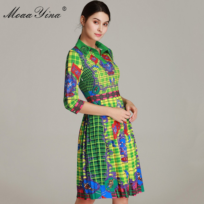 Kadın Giyim'ten Elbiseler'de MoaaYina Moda Tasarımcısı Pist Elbise Bahar kadın Elbise Yarım kollu Turn down Yaka Boncuk Vintage Ekose Baskı Elbiseler'da  Grup 1