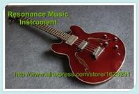 Hohe Qualität Burgund Hohles Gitarrenkorpus Chinesischen ES E-bass 4 String Linkshänder Kunden Verfügbar