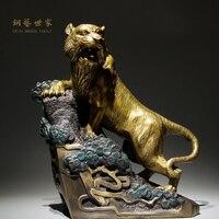 Hohe Qualität Wilder Tiger Statue Home Büro Dekoration Chinesische Messing Kupfer Handwerk Tier Ornamente Business Geschenk