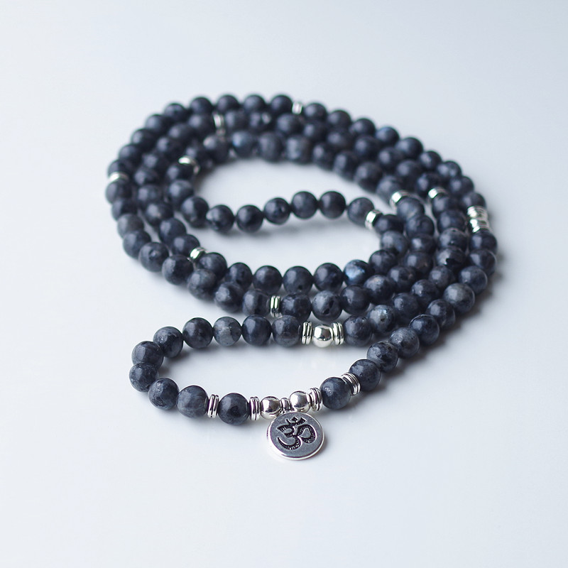 Labradorite 108 beads Mala, Necklace with different Pendants