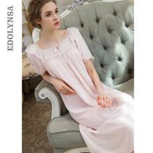 6a40f330c Rosa ropa de dormir de algodón arco de algodón casa vestido largo Casual  bata camisón de las mujeres de maternidad embarazada ca.