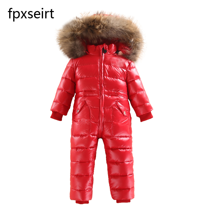 цена 2018 new fashion children piece down jacket children waterproof warm outdoor ski wear baby winter thick warm down jacket