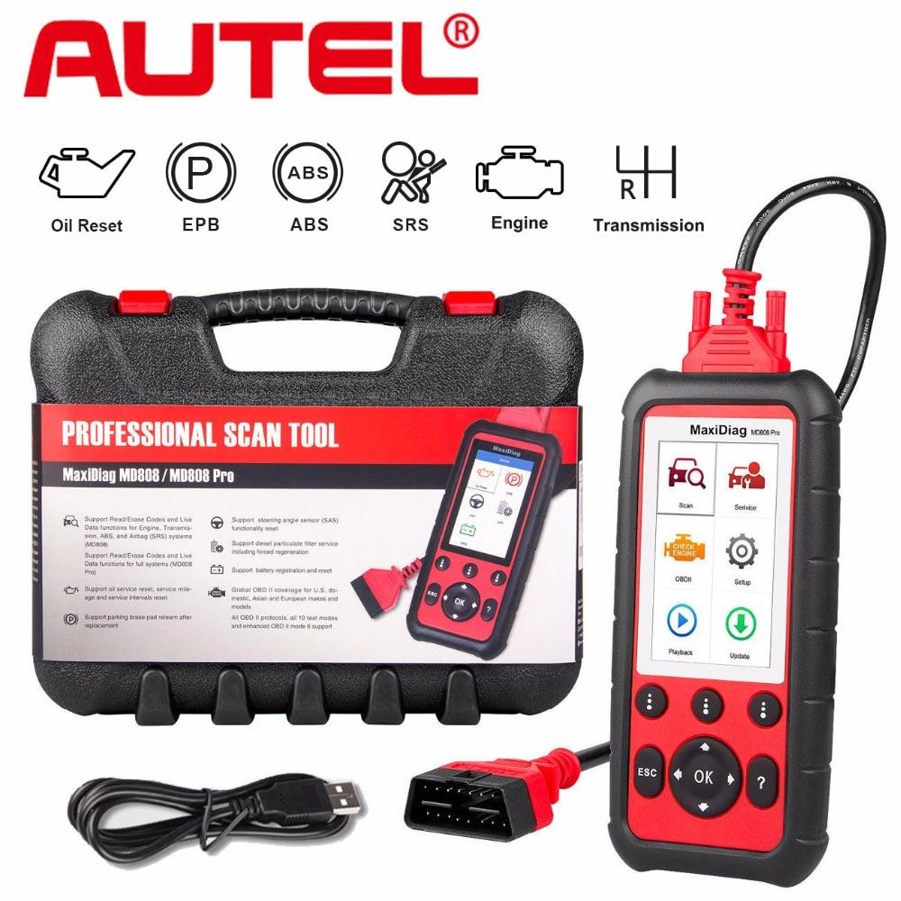 Autel MD808 Pro инструмент диагностики авто OBD2 читателя Кода EPB ABS SRS DPF для масла и Батарея сброса регистрации сканер OBD