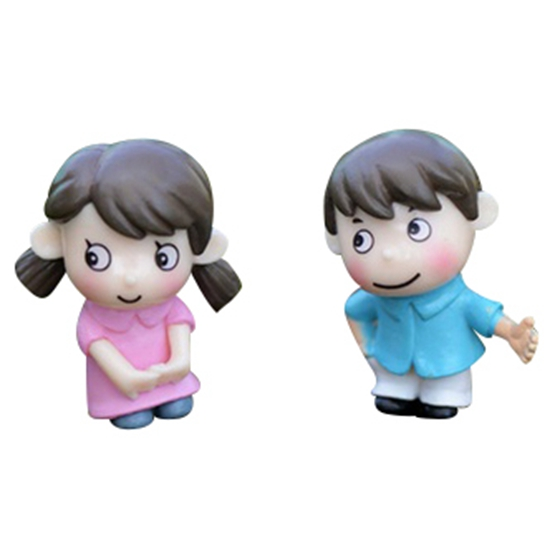 2Pcs sweety kids couple figurines miniatures fairy garden gnome moss terrariums resin crafts decoration accessories for DIY (S