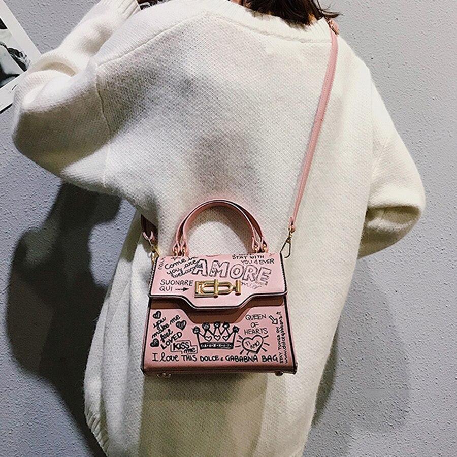 2019 Nero Designer Il Lusso Elaborazione Borsa Graffiti Crossbody colore Donne Fashion Per Sera Bag Delle Di Da Rosa Frizione Le Cuoio cachi Flap Dell'unità Della bianco Piccolo RqpBxAwd