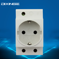 1P Single One 3 Pin Plug German Standard Rail Mount AC Power Modular Socket 16A 250V