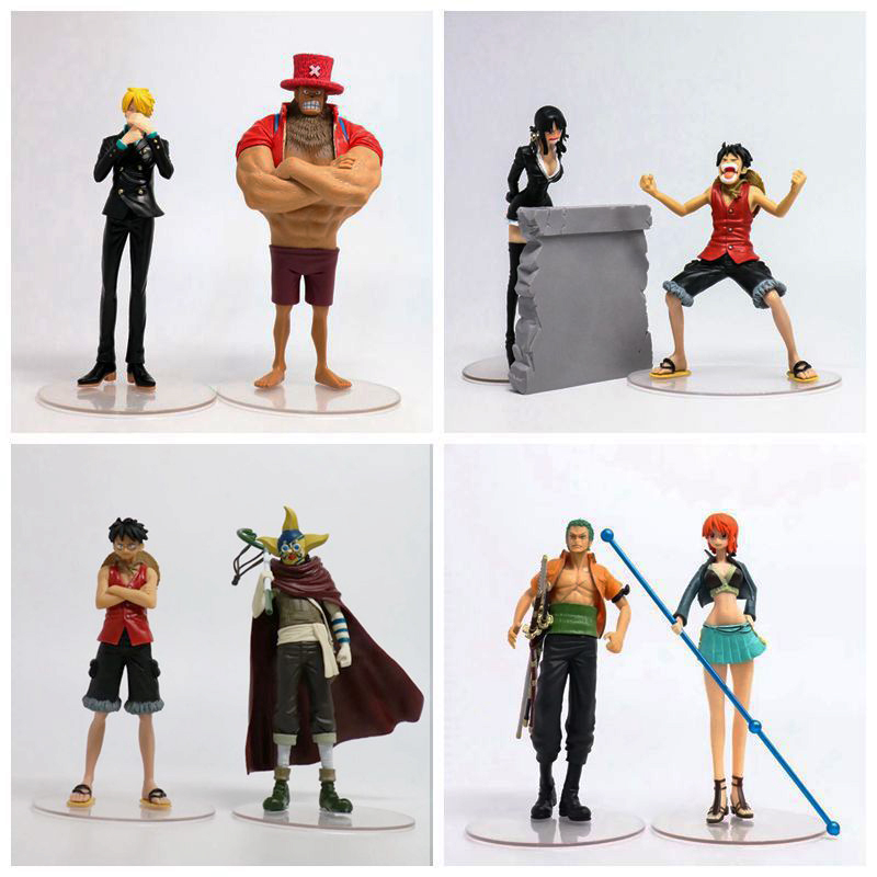 Free Shipping 4 pair One Piece Enies Lobby Robin Sanji Nami Chopper Zoro Usopp PVC Action Figure Modle Collection Toy (2pcs/set) brand new portrait of pirates one piece roronoa zoro 23cm pvc cool cartoon action figure model toy for gift kids free shipping
