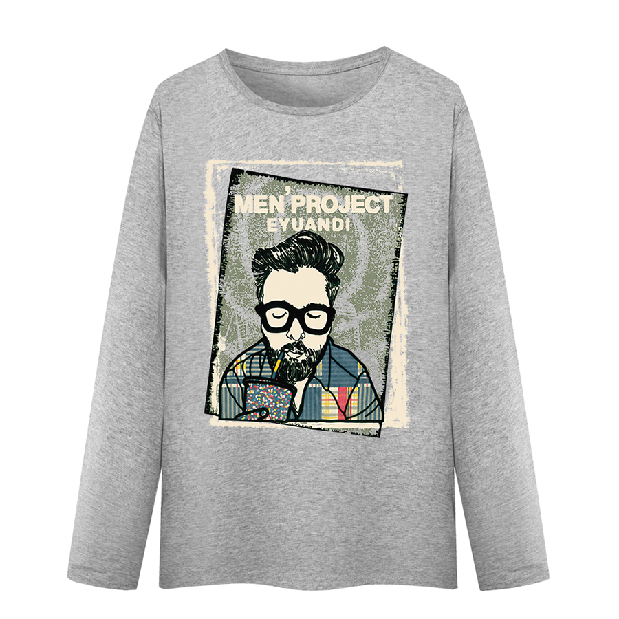 Long Sleeve t Shirt Men Funny Casual Printed Tshirt Men Cotton Hipster k-Pop Oversized Tee Cartoon Network Streetwear Tx5028 ...