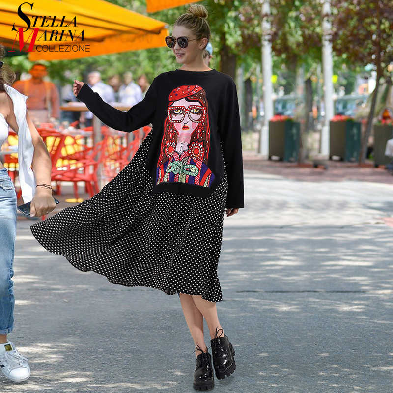 Женское платье в горошек, повседневное свободное черное платье средней длины с длинными рукавами, расшитое бисером, с нашивкой, модель 3243, 2019