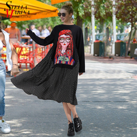 2018 Spring Long Sleeve Women Black Dress Front With Printed Patch Beading O Neck Knee Length