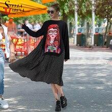 Nuevo 2019 Otoño Invierno mujeres negro Casual dibujos animados vestido Polka Dots estampado manga larga señora lindo vestido suelto Midi Bata femme 3243
