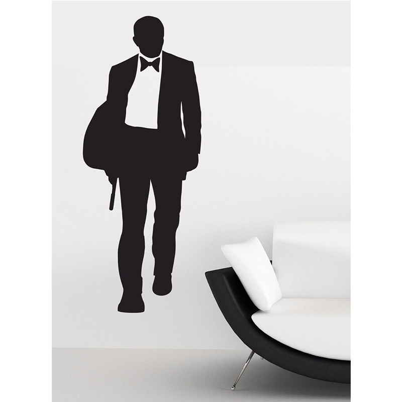 James bond wall sticker 007 movie character posters boys for 007 room decor