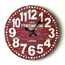 Retro Red Wood Wall Clock Europa Styles Decorative Digital Silent Clock For Home Office Cafe Bar Deco