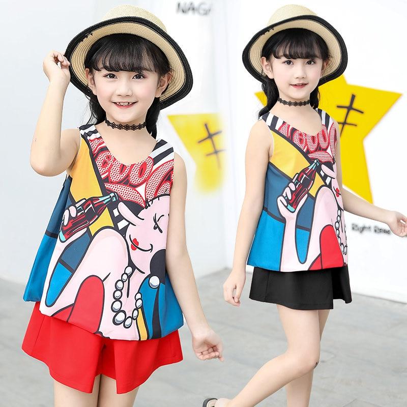 Fantasia verão crianças menina sem encosto dos desenhos animados feminino rua topos & shorts conjunto de roupas 2 peças crianças mini garrafas de coca roupas
