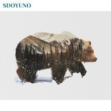 Sdoyuno Рисование по номерам медведь снежного поля бескаркасное