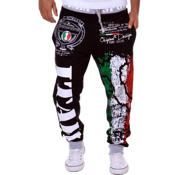 Модные хлопковые мужские повседневные штаны, популярные модели, спортивные штаны с принтом итальянского флага, повседневные штаны - Цвет: Черный