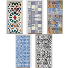 Door Stickers Kaleidoscope Mediterranean Style Color Black and White Tiles Mosaic Bedroom Wooden Home Decoration Paste