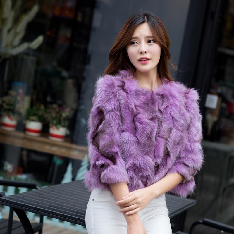 Veste 100 Dames Naturel Véritable Renard Vente Purple Chaude Mode Survêtement De 2017 Réel Courte Femmes Qualité Bonne Fourrure Manteau OHwfqnCx
