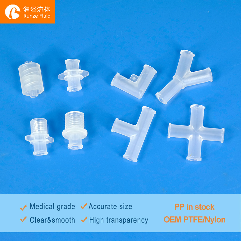 Medical PP Plastic Female Luer Lock Adapters L T Y Cross For Male Luer Fittings Connection Easy Replacement Leakage Free On Sale