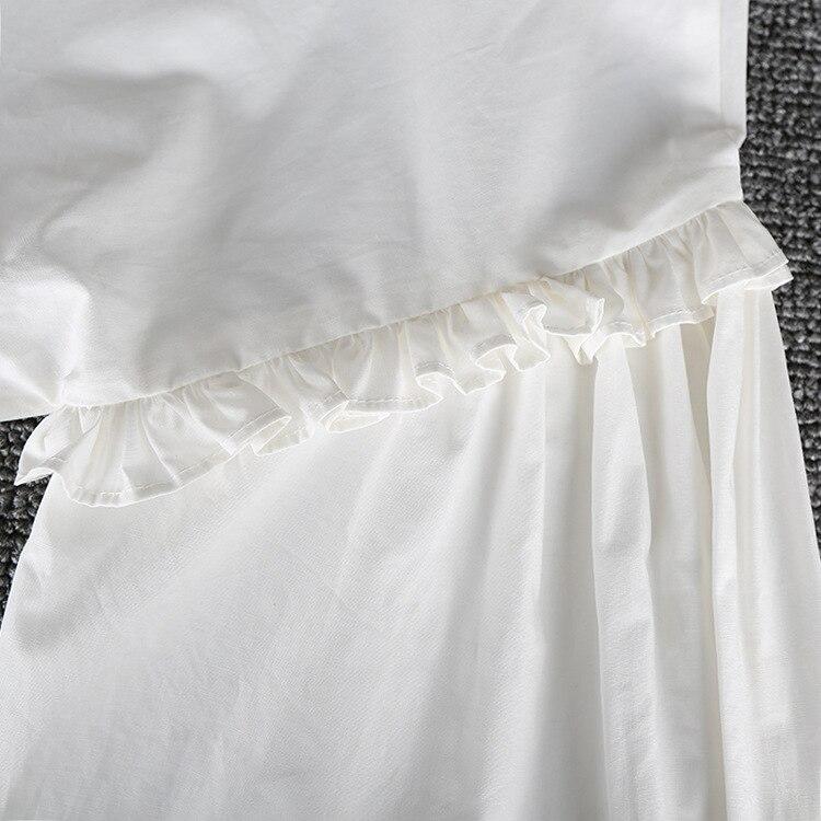Vintage femmes à manches longues chemise blanc coton dentelle arc col montant lâche Blouse doux hauts C40 - 6
