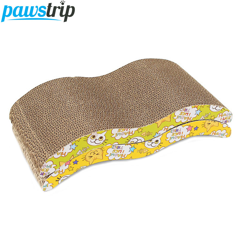 Pawstrip Corrugated Paper Cat Toys With Catnip Interactive Cat Scratch Board Pad Claws Care Training Toys 44*21*7cm
