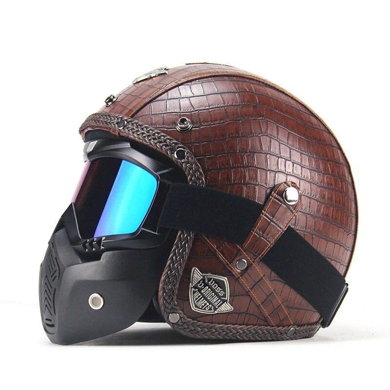 Коричневые мотоциклетные шлемы 3/4 открытым шлем искусственная кожа +, маска Винтаж Стиль M