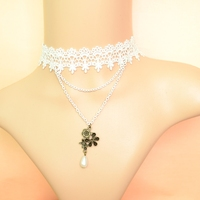 Jewelry flower vintage royal lace necklace women colnmnaris chain gift