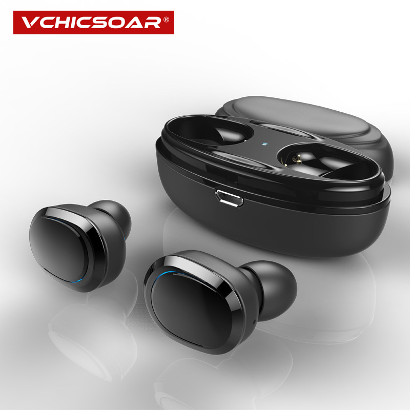 Vchicsoar T12 Wireless Bluetooth Headphones Sport Earbuds TWS Earphone with Microphone Charging Box Subwoofer for Mobile Phone