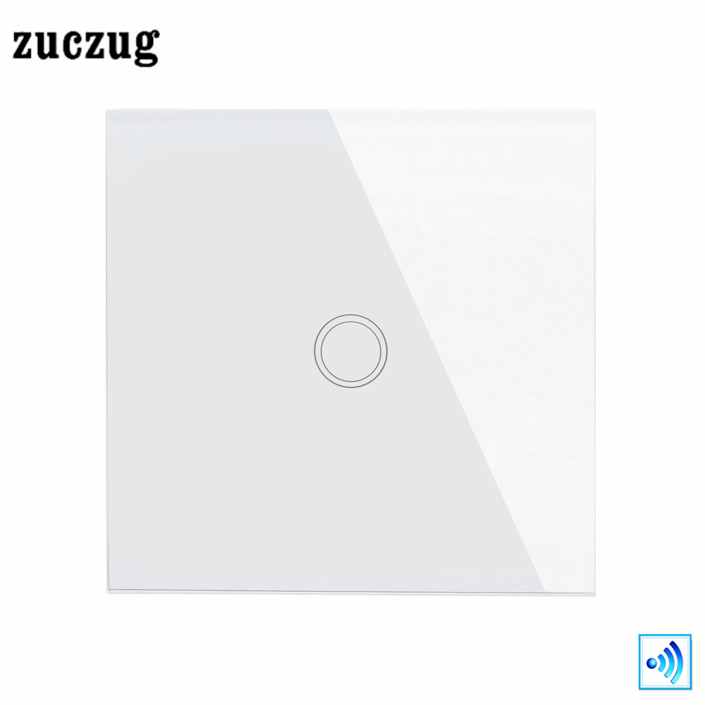 Smart Home Switch Crystal White Glass Wall Touch Switch Remote Switch 1 Gang 1 Way light Switch, Zuczug EU/UK Standard 110-240V 2017 smart home wall switch white crystal glass panel light touch switch 1 gang 1 way ac 110 250v 1000w for light