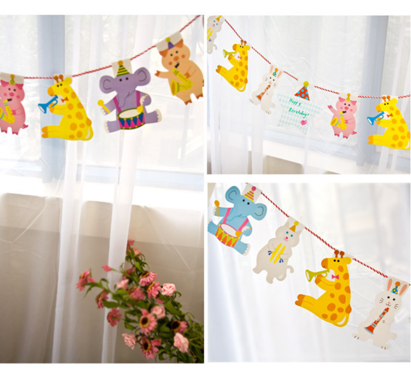 15Pcs/lot 2M Cartoon Animal Paper Flags Banner Decor Baby Room Decoration Bedding Bumpers Kids Party Flags Kids Girls Room Decro